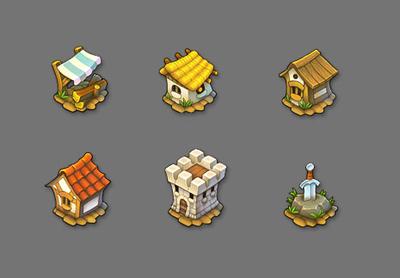 Game Buildings Cartoon