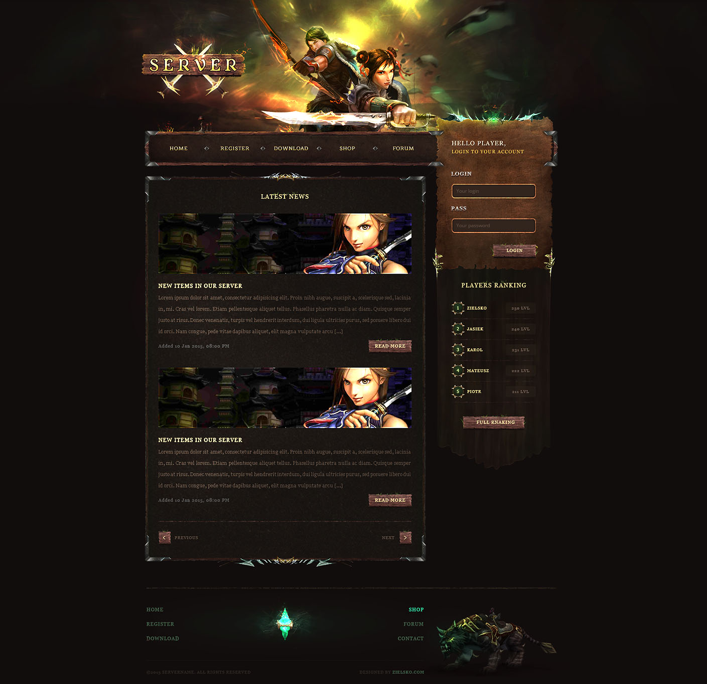 dark forest game website template