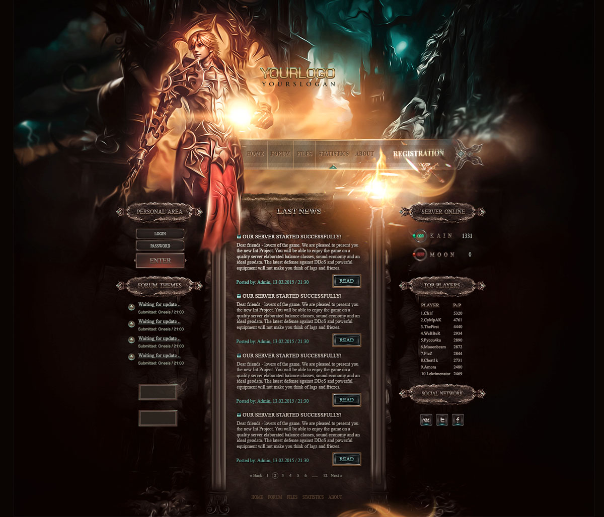 Gaming Info Sites: Game Server Website Template