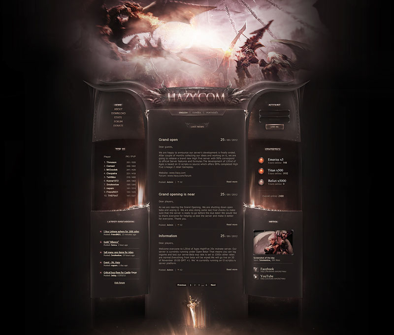 hazy fantasy game website template
