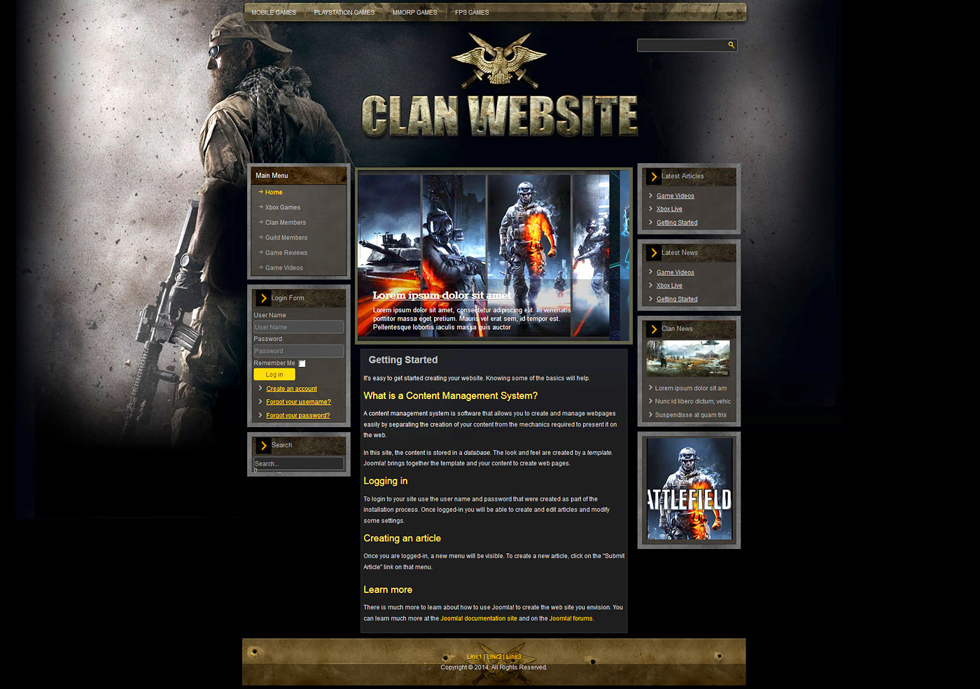 Gaming Clan Joomla Template Tap To Expand