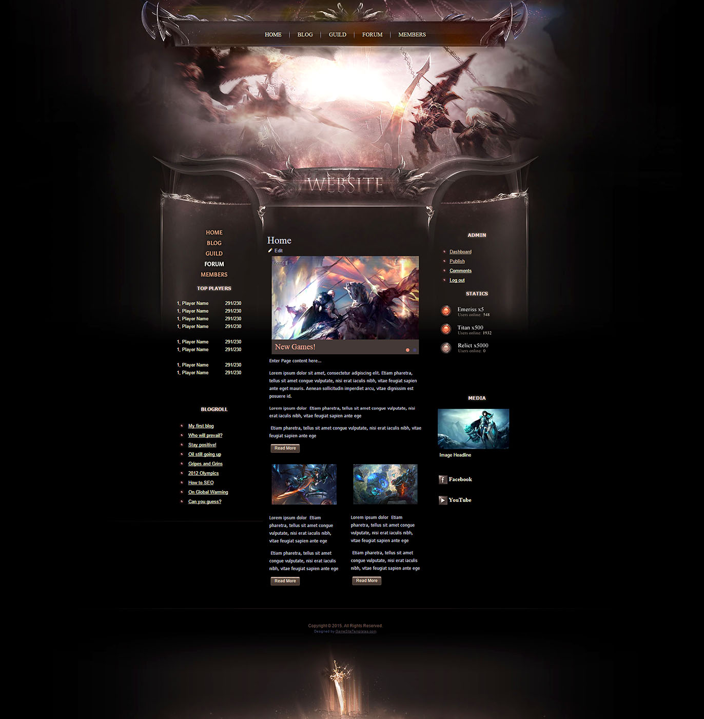 Dragon Warriors HTML Template - Gaming website template