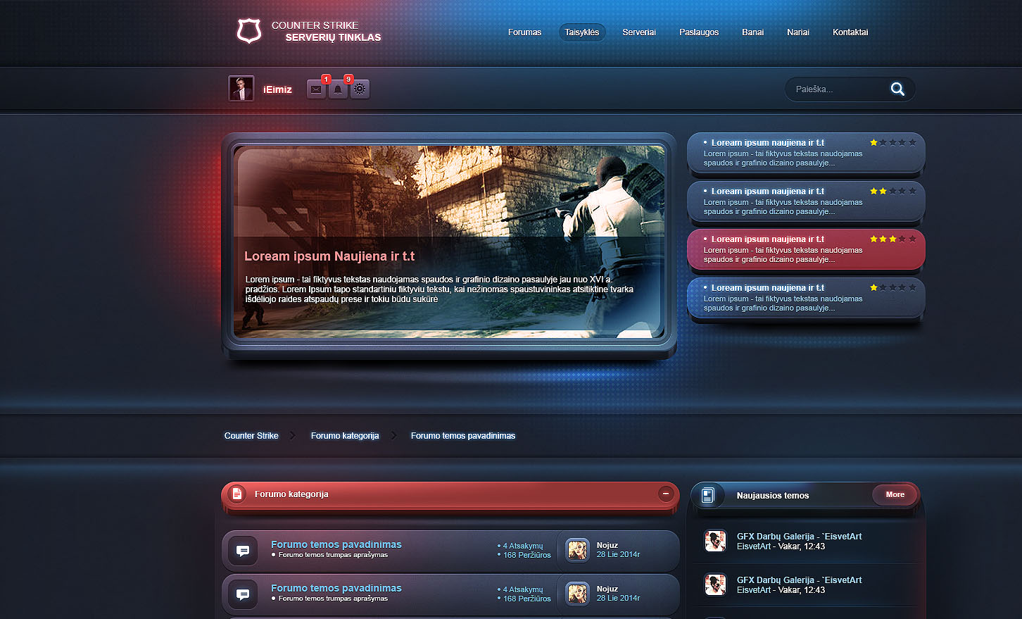 esport gaming forum template