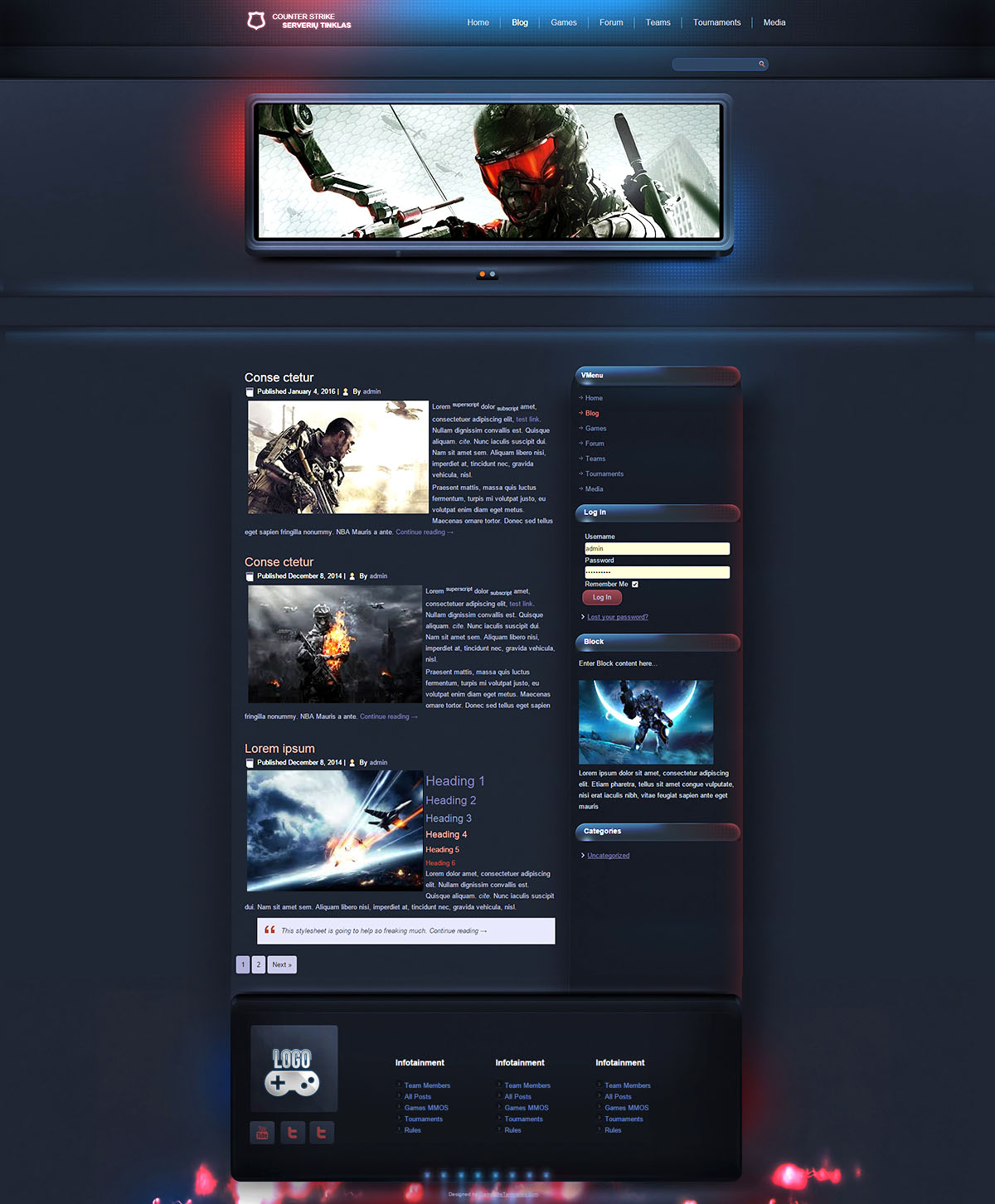 esport gaming joomla template