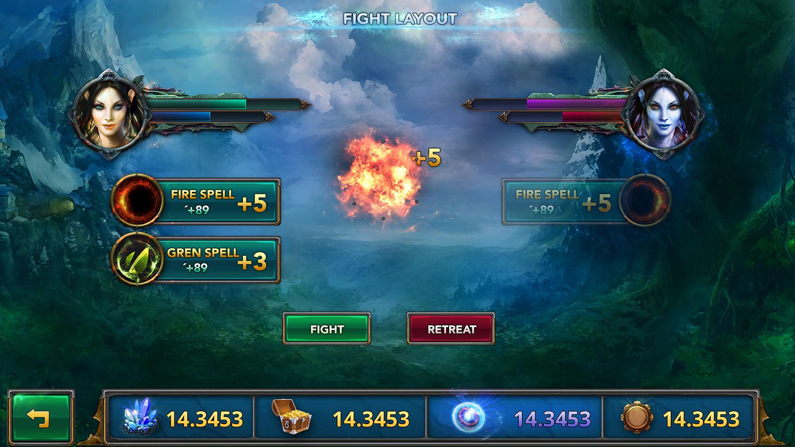 fantasy mobile game ui template
