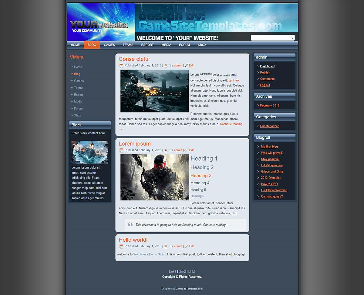 drupal free gaming templates