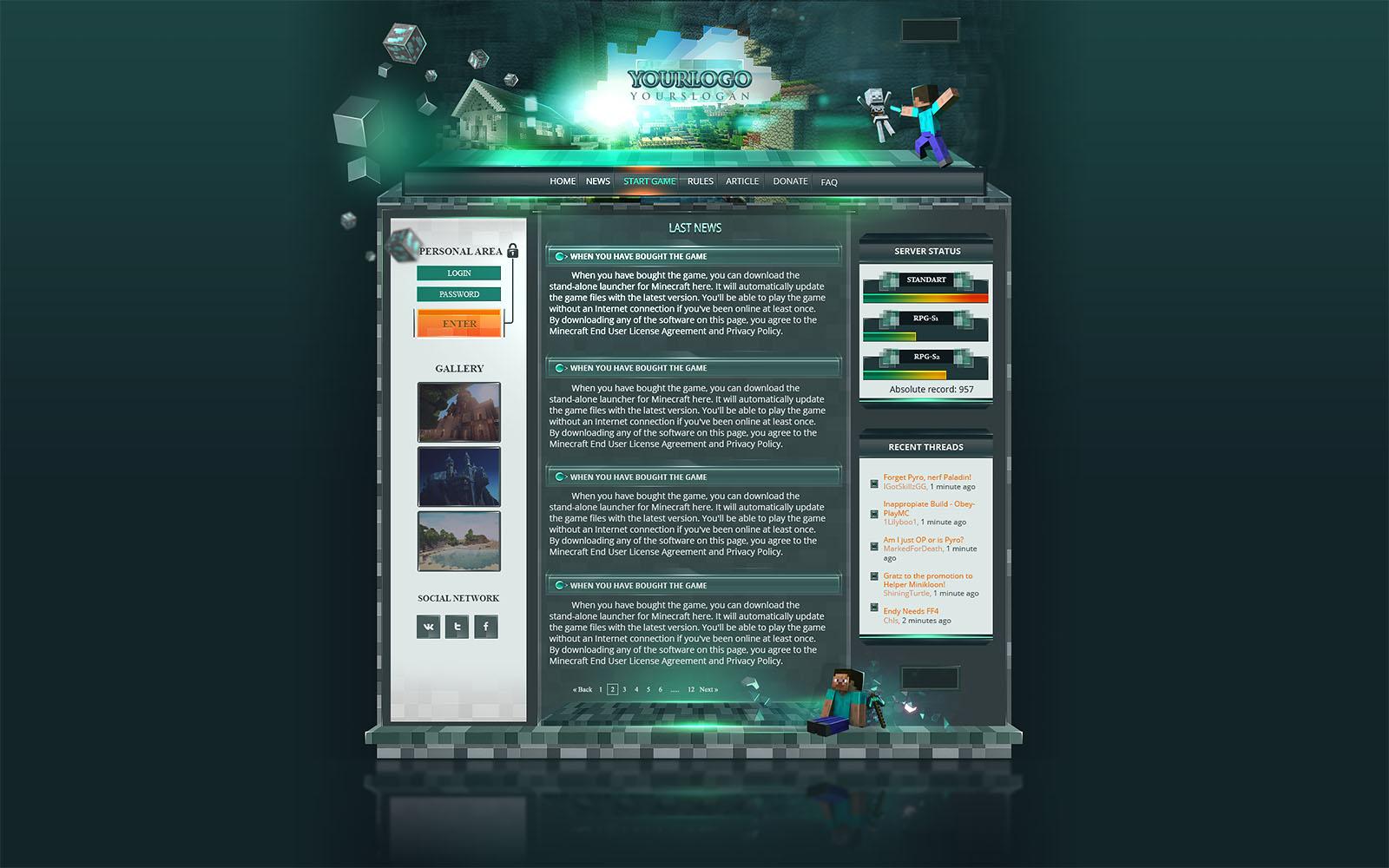 minecraft website templates - Ronni kaptanband co
