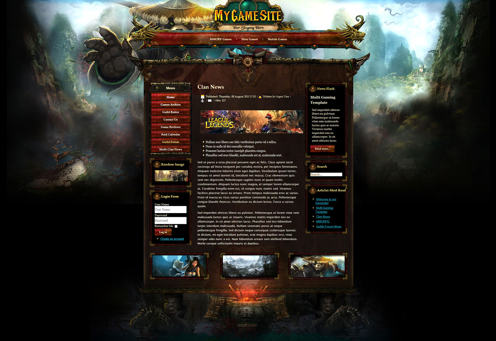 Mist Of Pandaria Joomla Template