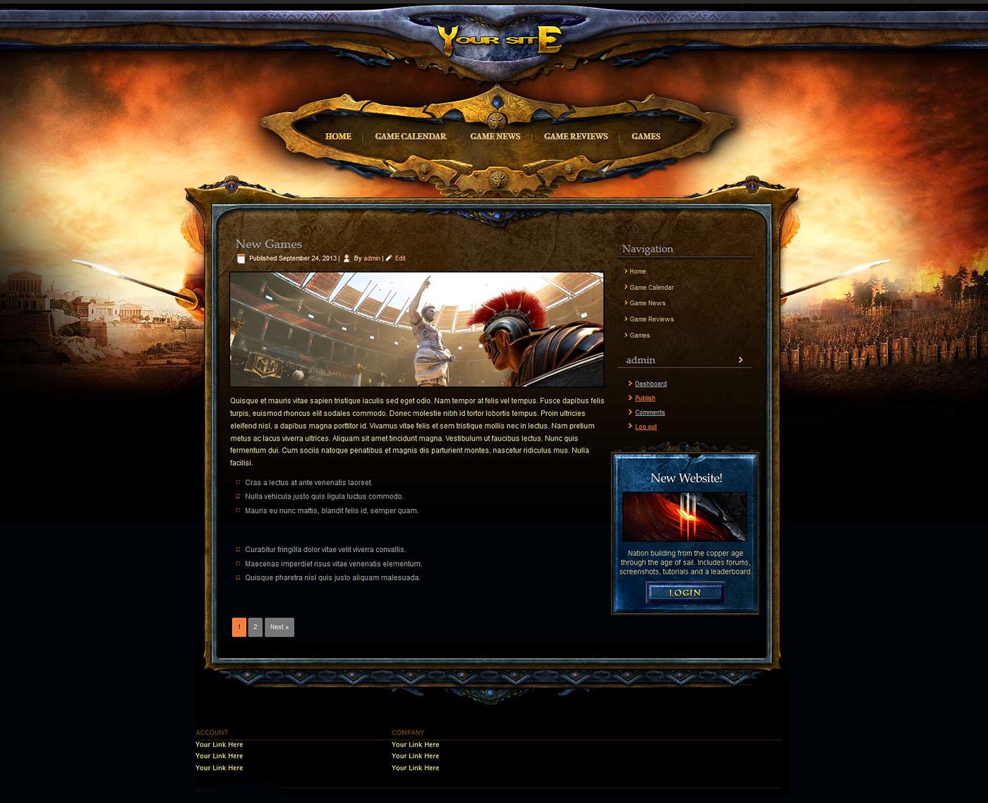 Gaming Website Template WordPress