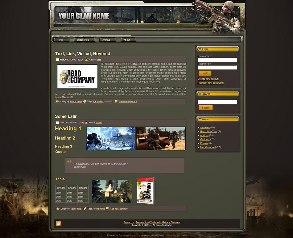 drupal themes gaming free